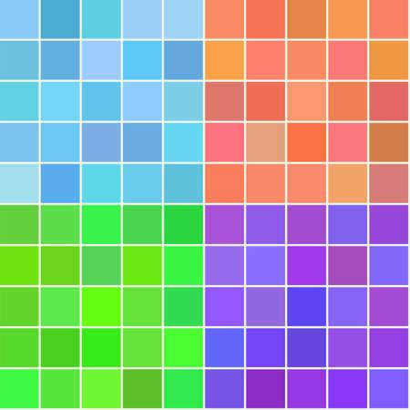 Set van vier vector naadloze vierkante patronen. Decoratieve retro achtergrond voor textiel, stof, inpakpapier in blauw, oranje, groen, violet. Vintage digitaal papier tegel.