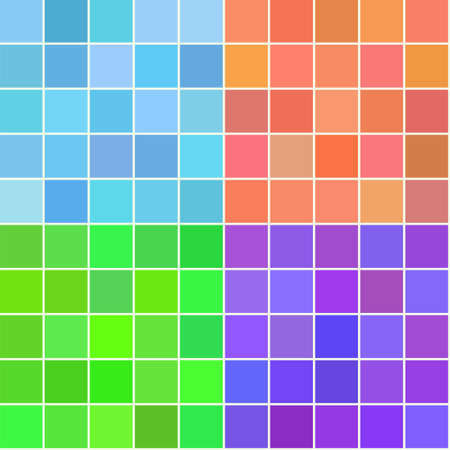 Set von vier Vektor nahtlose quadratischen Mustern. Dekorative retro Hintergrund für Textil, Stoff, Geschenkpapier in blau, orange, grün, violett. Weinlese-Digital-Papier Fliese.