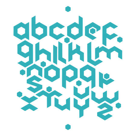 Hexagonal futuristic alphabet. Vector stock illustration of english letters in modern geometric style