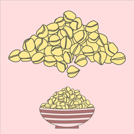 legume: Chickpea pile isolated and in a bowl. Vector illustration for beans traditionally used in arabic and indian cuisine.
