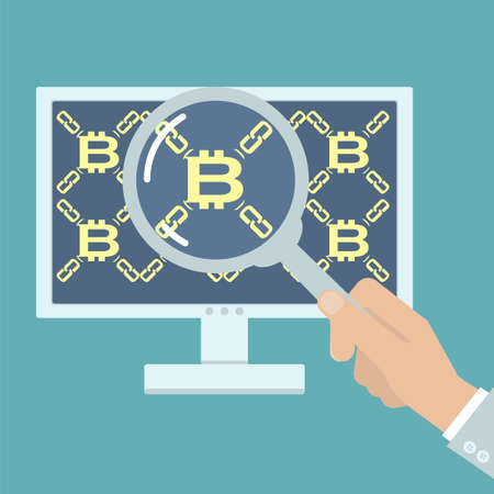 distributed: Hand with magnifier analyzing bitcoin. Vector illustration on computer blockchain technology, digital currency, distributed database in flat style.