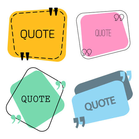 stock quotes: Quotes frame and sign set. vector stock illustration for chat design, text box template, citing block.