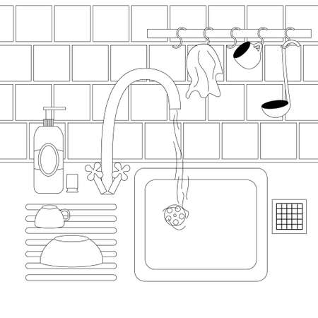 usual: Dish washing chores. Vector stock illustration of hands cleaning plate in a sink with usual kitchenware around in black outline.