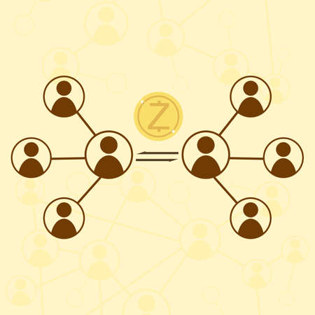 protocol: Zcash cryptocurrency concept. Vector stock illustration for digital financial technology.