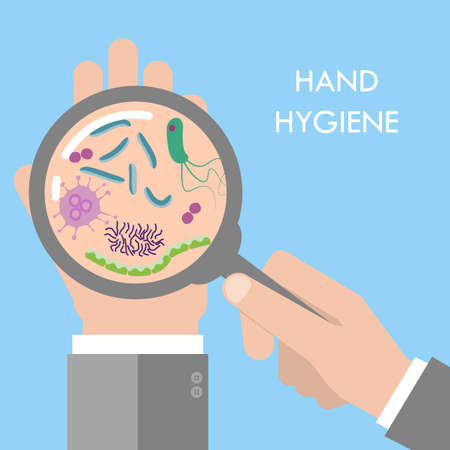 mrsa: Hand germs under magnifier glass concept. Stock vector illustration for hand hygiene, public health, disease risk and the dangers of spreading illness as dirty infected fingers and palm with microscopic viruses and bacteria. Flat style Illustration