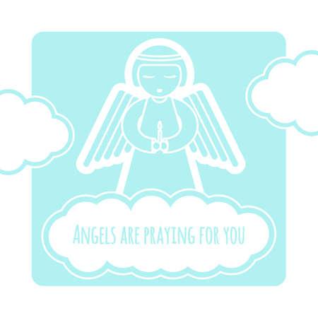 Grußkartenschablone mit dem Engel, der eine Kerze anhält. Vektorillustration auf Lager in den weißen und blauen Farben.