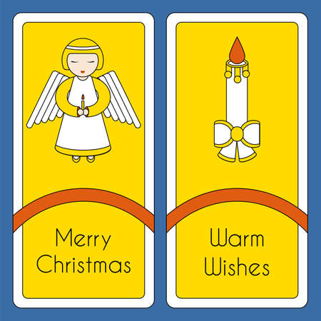 merry christmas greeting card template with holiday symbols angel
