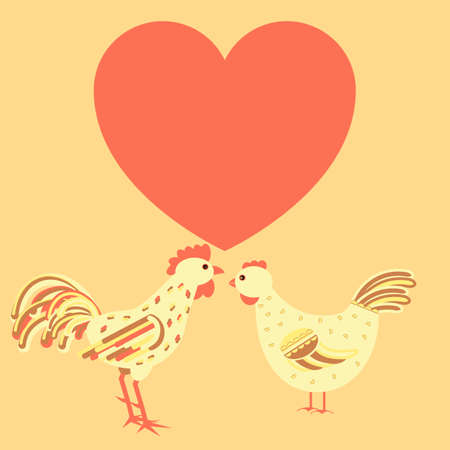 valentineday: Chicken family card template with both rooster and hen in love and heart shape free for text. Stock vector illustration for greeting card design, banner on love, saint valentine theme.