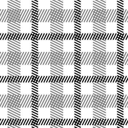 on white: Tartan black white seamless pattern. Stock vector illustration for textile, fabric, cloth in scottish, irish style. Illustration