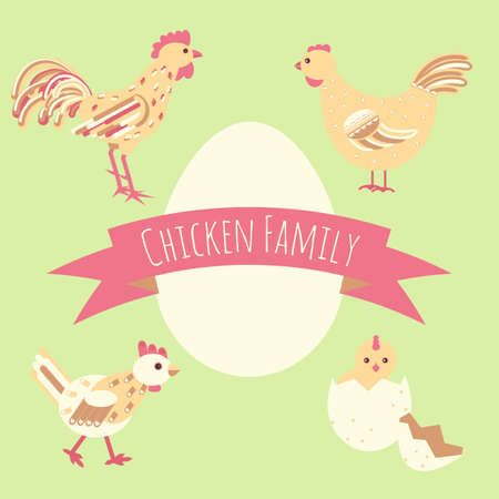 Chicken family around egg card template. Stock vector illustration for greeting card design, banner on relative, kin, home theme.