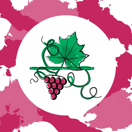 Colorful grape concept with both berry and leaf silhouettes on paint spots background. Stock vector illustration on vineyard and vine products for banner, invitation, card, certificate, menu. Illustration