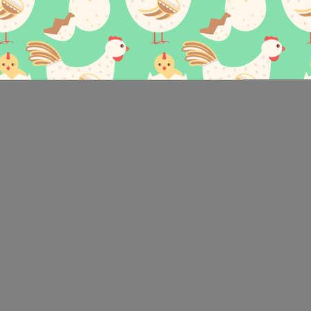 kin: Hen and baby chicken seamless pattern. Vector stock illustration
