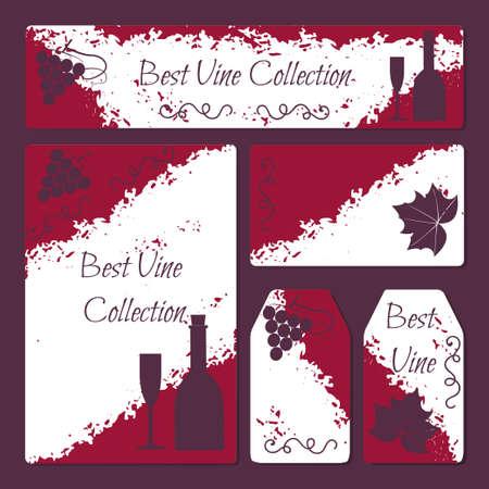 Wijn flyer en kaarten template set met druiven brunch en blad, fles en glas iconen in vintage stijl. Stock vector illustratie voor de wijnproductie bedrijf, wijnmakerij, restaurant of bar promo advertenties. Stock Illustratie