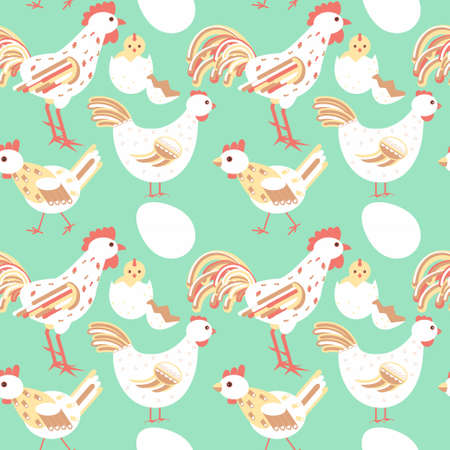 Chicken family seamless pattern with hen, rooster, baby born, young chick, egg. Stock vector illustration, background on relative, kin, home theme.