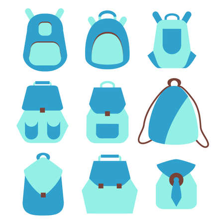 knap sack: Backpack set. Stock vector illustration of rusksack city bag collection for students, tourists, hipsters. Flat style