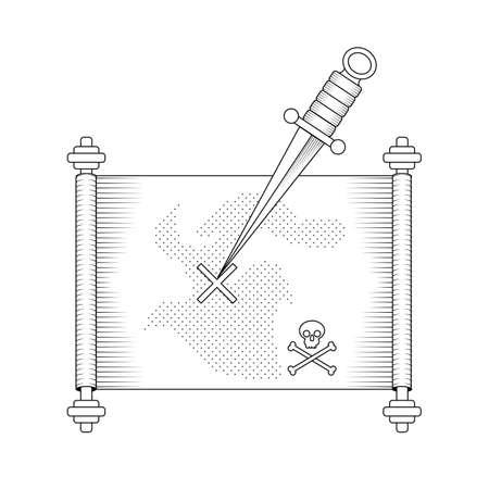 dirk: Pirate treasure map with dirk pointing at paper scroll. Stock vector illustration in black outline on white background Illustration