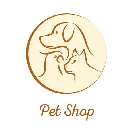 shop for animals: Pet shop logo with dog, cat, parrot head silhouette in a circle. Stock vector illustration for domestic animals services. Illustration