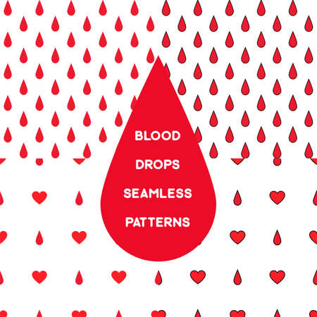 Blood drops on white background simple seamless pattern set. Stock vector illustration of blood transfusion and donation. Medicine and biology collection. Illustration