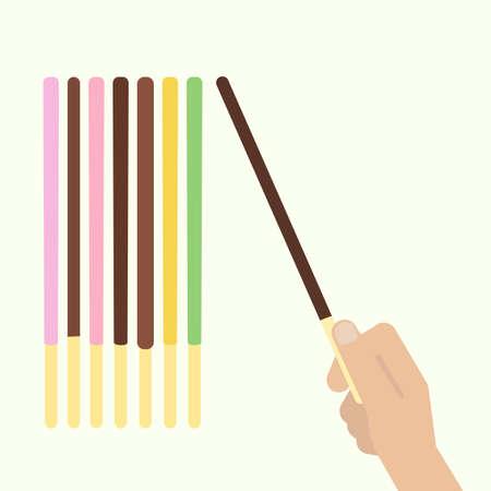 Pocky pepero stick. Voorraad vectorillustratie van een hand met populaire Aziatische zoete snack koekje van verschillende smaak