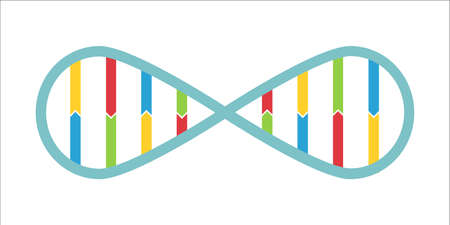 Dna spiral in infinity symbol concept in bright colors. Stock vector illustration of double helix for company identity in healthcare, medicine and biology.