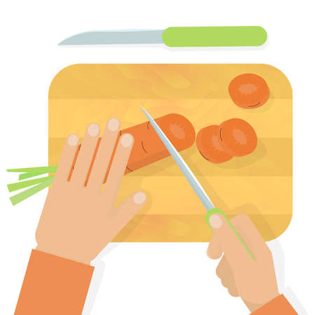 wooden work: Hands cutting carrot with a knife on wooden board. Stock vector illustration of cooking meal, household duty, housewife usual work. Illustration