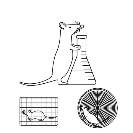 Muis met een fles in laboratoriumexperimenten die op witte achtergrond worden geïsoleerd. Voorraad vectorillustratie van gebruikelijke procedures met behulp van muizen in medisch biologisch onderzoek. Geneeskunde en biologie collectie.