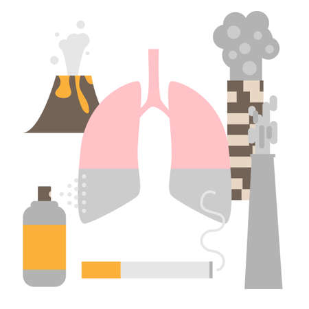 Air pollution provokes lung disease concept. Stock vector illustration of affected human organ and main pollutants -factories, smoking, volcano, household spray.