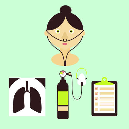 Lung disease concept with a patient and icons of x-ray, oxygen balloon with a mask, diagnostic checklist. Stock vector illustration. Medicine and biology collection
