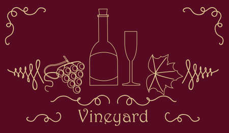 vino: Wine card template with a bottle and a glass, grapes both berry and leaf. Stock vector illustration on vineyard and vine products for banner, invitation, card, certificate, menu. Illustration