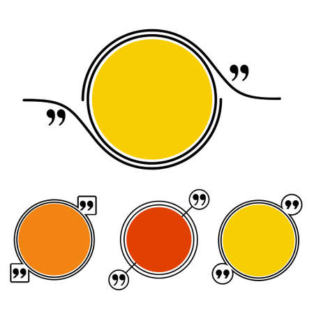 Quote frame set. Stock vector illustration of colorful red yellow orange dialog circle for citation with commas from either side. Illustration