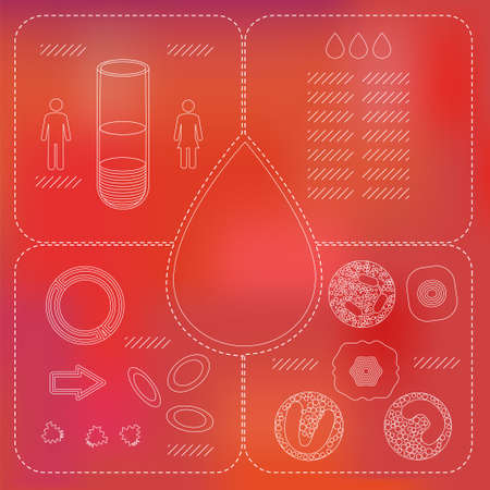 erythrocytes: Blood count test infographic elements in white line on red mesh background. Stock vector illustration of human cell types, vial , drop representing hematology analysis. Medicine and biology collection Illustration