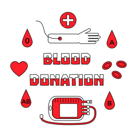 Blood donation concept with hand, bag and drops and slogan in red and white colors. Stock vector illustration for charity and volunteering in medicine.
