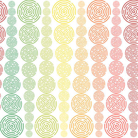 Seamless pattern with different size rainbow coloured circles in geometric order forming vertical structure on white background. Stock vector illustration for wallpaper, backdrop, textile, fabric.