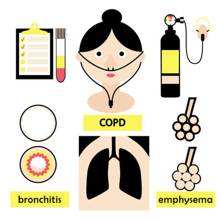 emphysema: Copd lung disease concept with a patient, main anatomy features and diagnostics icons. Stock vector illustration. Medicine and biology collection