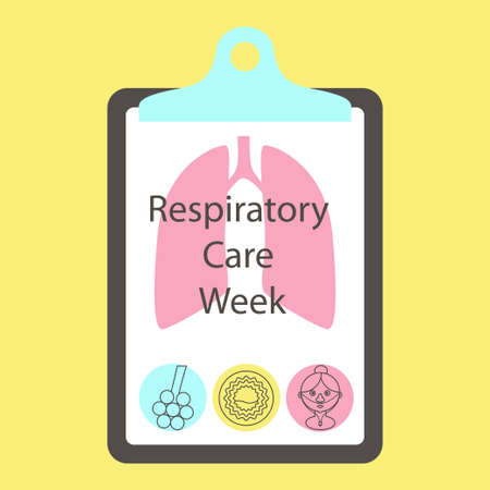 air awareness: Respiratory care week awareness sign. Stock vector illustration for medical campaign for healthy lung, breathing .