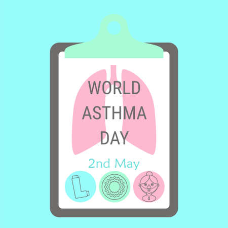 emphysema: World asthma day sign. Stock vector illustration for medical campaign against respiratory disease on 2 May.