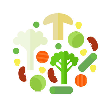 Frozen vegetable mix in a circle on white background. Stock vector illustration of sliced veggies . Healthy food. Flat style.