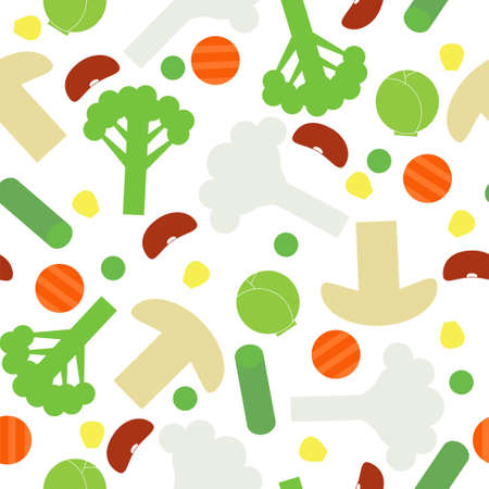 Sliced frozen colorful vegetables seamless pattern on white background. Stock vector illustration of veggies, food for healthy lifestyle.