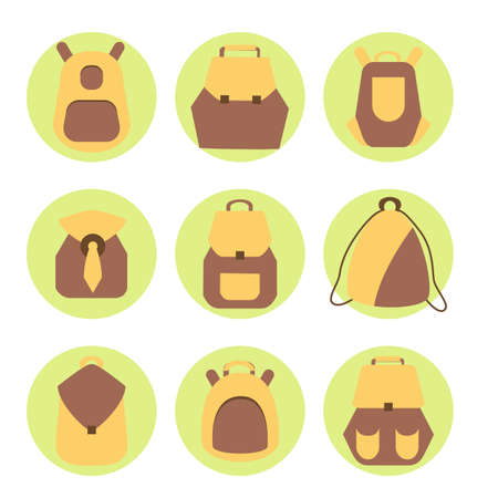 knap sacks: Backpack set. Stock vector illustration of rusksack city bag collection for students, tourists, hipsters. Flat style