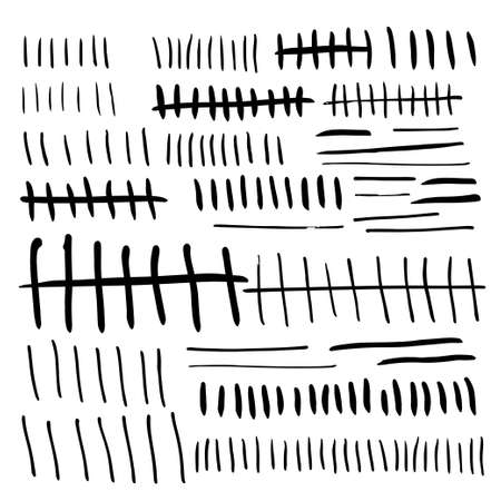 tally: Primitive tally marks hand drawn. Stock vector illustration for day count, numeral system isolated on white background.
