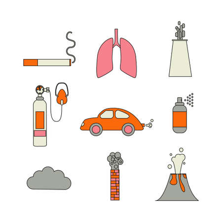Air pollution icon set. Stock vector illustration of emissions from cars, factory, household spray, volcano, smoking.