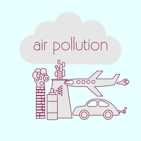 air awareness: Air pollution concept. Stock vector illustration of a cloud and different sources of atmosphere emissions.