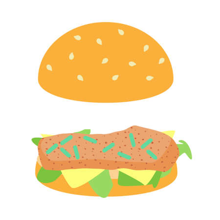 Listeria in hamburger concept. Stock vector illustration of dangerous bacteria on meat loaf in fast food. Illustration