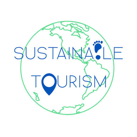 recycling campaign: Sustainable tourism concept isolated on white background. Stock vector illustration of earth globe with footprint and navigation position icon.
