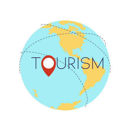 All over the world tourism concept. Stock vector illustration of earth globe with navigation position icon.