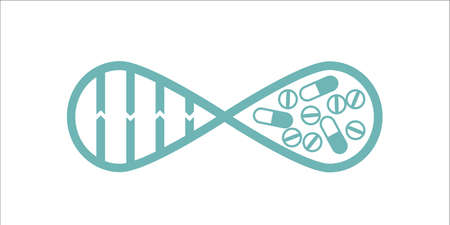 gerontology: Dna spiral and drugs forming infinity symbol monochrome concept. Stock vector illustration for company identity in healthcare, medicine and biology, life extension science, gene therapy. Illustration