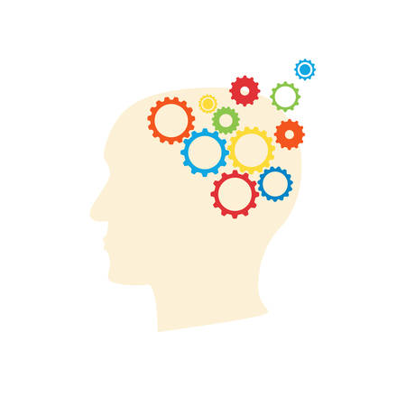 Alzheimer disease concept with human brain by gears visualilization in a head silhouette. Stock vector illustration for mental and memory illness.