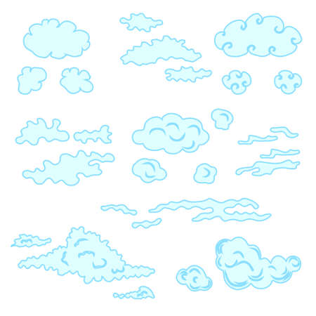 Hand drawn clouds set. Stock vector illustration for decoration, weather icons Illustration