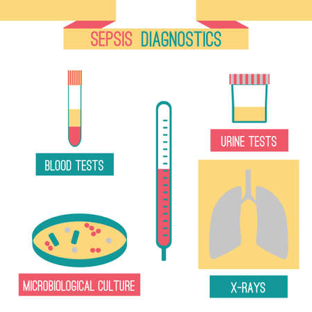 Sepsis diagnostics infographics template with blood, urine tests, microbiological culture, x-ray and thermometer. Stock vector illustration on illness details and medical lab . Ilustracja