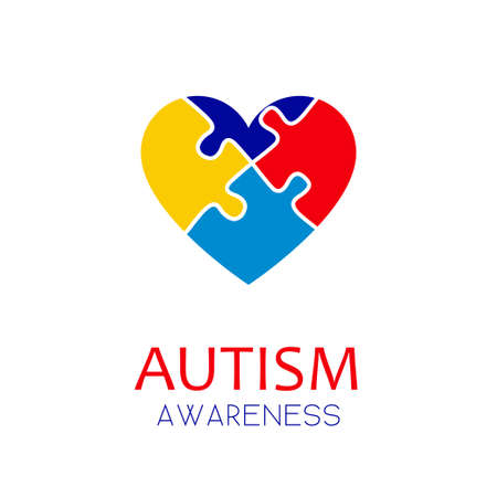 Autism awareness concept with puzzle elements of blue, red, yellow colors forming a heart. Stock vector illustration, logo, emblem design. . Illustration
